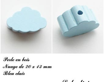 20 x 13 mm wood bead, Pearl flat cloud: light blue