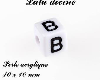 Alphabetical 10 x 10 mm white acrylic bead: letter B (set of 10)