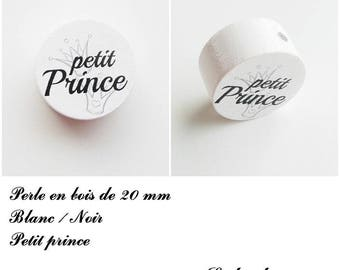 Wooden bead with 20 mm flat bead, little prince, Crown: white / black