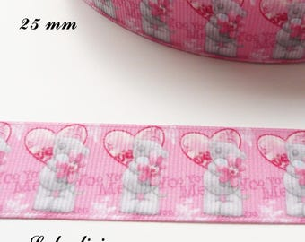 Light pink grosgrain Ribbon background heart Teddy bear / Teddy holding a flower 25 mm sold by 50 cm