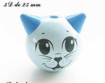 25 mm wooden bead, Pearl 3D cat: light blue
