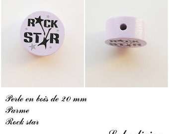 Wooden bead of 20 mm, flat bead, Rock star: Parma