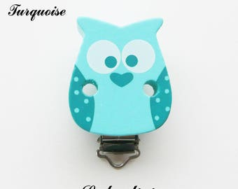 Clip / buckle, wooden pacifier Clip, OWL / owl: Turquoise