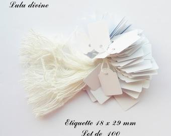 100 white cotton thread labels / price label: 18 x 29 mm