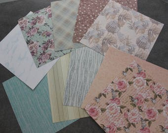 set of 10 sheets of paper for scrapbooking, cardmaking, paper creations