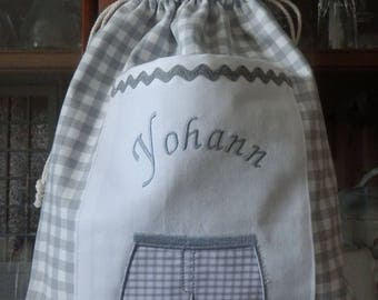 Laundry bag small Yohanna gray and white Plaid