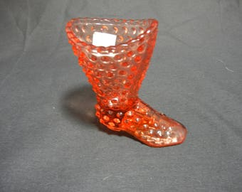 Fenton Hobnail Tall Boot Glass Slipper/Shoe (1971-1984)