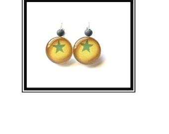 "Earrings original & unique ""Star"" mustard khaki stars boho Bohemian"