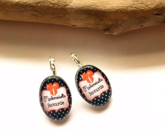 """Earrings & single """"Miss Chatterbox"""" personalized, derision, heart, bow, red, black, Crown, humor"""