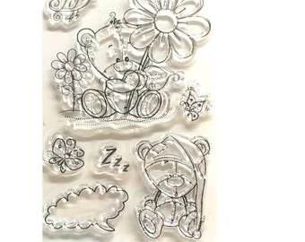 Stamps silicone - clear stamp set - baby bear sleeping bubble birth silicone transparent flowers Theme