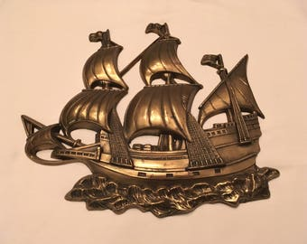 "Vintage Brass Wall Plaque Sailing Ship Pirate Vessel Caravel 15"" x 13 1/4"" Santa Maria Columbus"