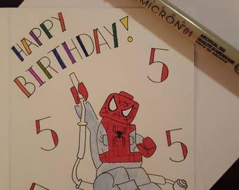 Kid lego spiderman 5th birthday card