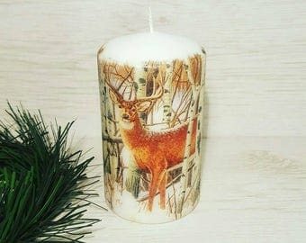 Winter deers candle, Unscented candle for Christmas, Christmas candle, Christmas home decor, Winter decoration, Handmade decoupage candle