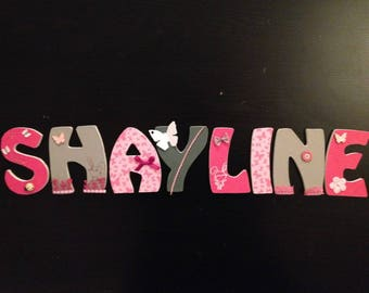 Custom name SHAYLINE wooden letters