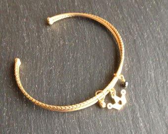 Bracelet double channel open Princess Crown black stone