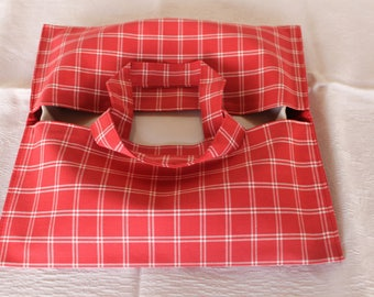 pie in red cloth bag