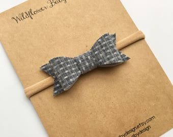 Chambray Bow, Chambray Fabric Bow, Headband, Clip