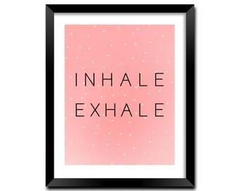 Inhale Exhale Digital Print, Bedroom Decor, Strawberry Art Print, Psychology Gifts, Relaxing Wall Art, Fitness Print, Meditation Art | M0038