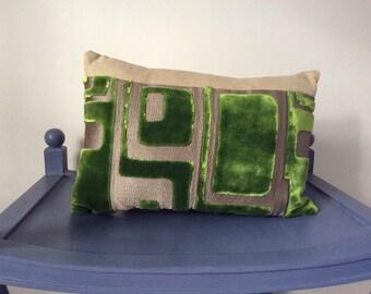 Designers Guild Lime Green Velvet and Metallic Geometric Oblong Cushion