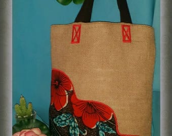 Applied burlap and African Wax fabric tote bag