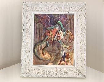 Jabberwocky John Tenniel Illustration. Page from Vintage Book Alice Through the Looking Glass. Gift for Girl Daughter Sister Granddaughter