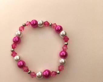 Pink/White Glass Pearl Beaded Bracelet