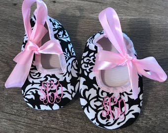 Crib Shoes with Monograms* Girl Crib Shoes * Monogrammed Shoes * Newborn Shoes with Monogram*