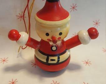 Vintage 1973 Kurt S Adler Wooden Santa Ornament