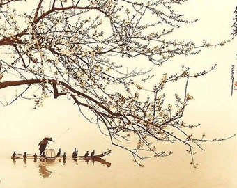 ORIGINAL design, durable and WASHABLE PLACEMAT - Japanese painting. Fishing with cormorants - classic.