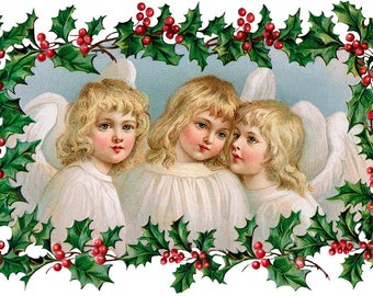 TABLE SET Christmas vintage, original, plastic, washable and durable - three little angels.