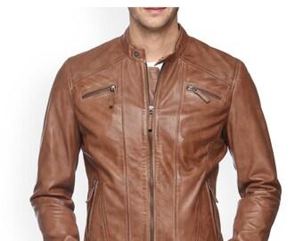 Leather Biker Jacket Brown