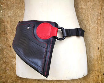 Banana/pouch/bag for man or woman in inner tube recycled and red leather.