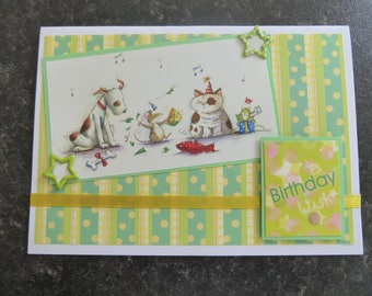 handmade card, birthday wish green UK