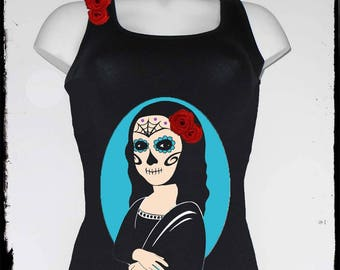 """the Mexican"": Mona Lisa mistake skull tank top"