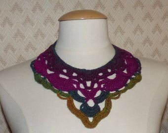 ombre crochet bib necklace green and yellow plum 75% wool