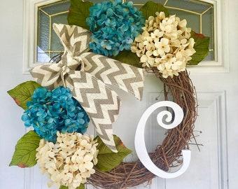 Cream and Blue Hydrangea Wreath with Monogram - Initial Wreath - Monogram Wreath - Door Wreath - Wreath