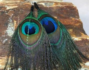 Peacock Feather Earrings (Medium)