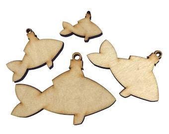 Wooden Christmas Fish Plywood Scrapbooking Embellishment Wedding Decor Gift