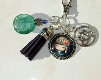 "Keychain or bag charm ""kokeshi lotus"""
