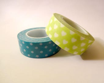 2 Washi tape - dots and hearts - Scrapbook - embellishment