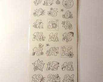Numbers stickers coloring - Board - Christmas advent calendar