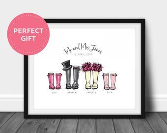 Personalised Wellington Boot Print | Wellington Printable | Wedding Print | Wedding Printable | Wedding Gift | Wellington Boot Print