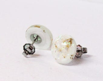 White with Gold Foil and Opal Sphere Earring - Shimmer - Dark Delights - White and gold Opal - Stainless Steel Earrings Backing - Minimalist