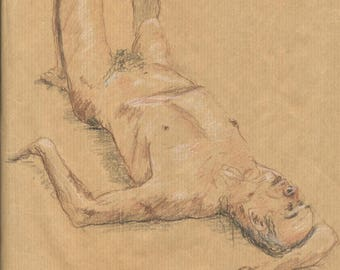 Sketch of a naked man lying on a bed