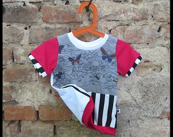 Half upcycled kid's T-shirt, size 92