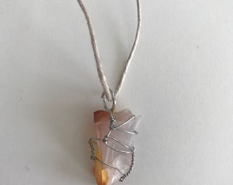 Banded Agate; Silver Wrapped Necklace