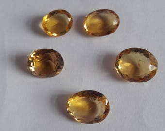 5 Pieces, 100% Natural Citrine Oval Shape Faceted cut, Citrine Faceted Oval Cut, Loose Gemstone Beads, 15x12 To 12x10mm Size