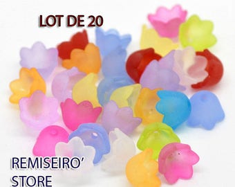 Lot of 20 lucite beads mixed acrylic frosted flower