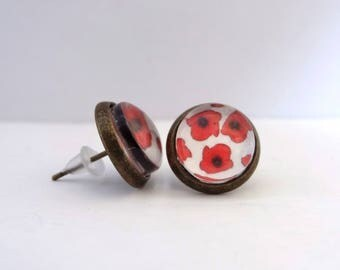 Earrings cabochon chips red poppies