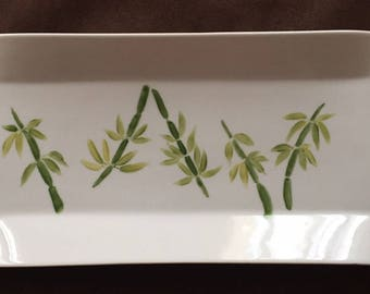 Ceramic porcelain bamboo motif tray